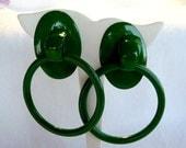 CIJ Sale Bangin' Big Green Hoop Pierced Earrings Door Knocker Style