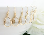 15% OFF SET of 6 Bridesmaid Gift Wedding Jewelry Bridal Jewelry Clear Crystal Drop Earrings Dangle Earrings Crystal Long Teardrop Earrings