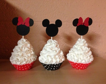 12ct. Mickey and Minnie Cupcake Toppers
