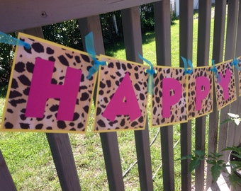 Colorful Leopard Happy Birthday Banner