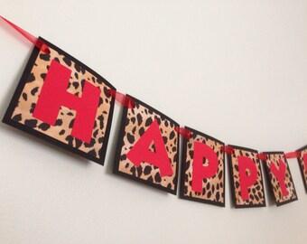 Red Leopard Happy Birthday Banner