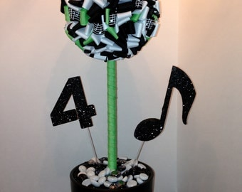 Music centerpiece ribbon topiary