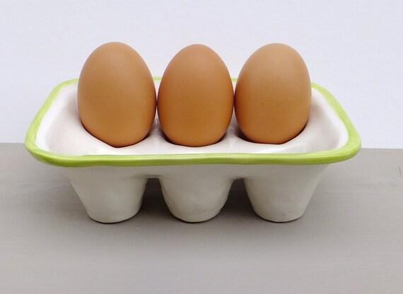 Lime green kitchen, ceramic egg tray, egg box egg crate, egg carton holder lime baking pottery kitchenware