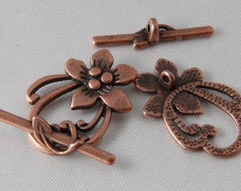 2 sets - 30mm Antique Copper Flower & Leaf Toggle