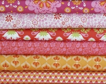 SALE! Fabric Bundle 6 pcs - Raaga Collection in Warm - Monaluna Organic Cotton