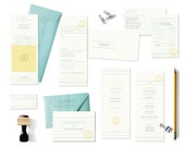 Complete Set  //  Marian Suite ..... Invite, RSVP, Save the Date, Program, Menu, Thank You, Two Stamps