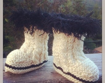0-3 months hand knit fuzzy baby booties in cream and black