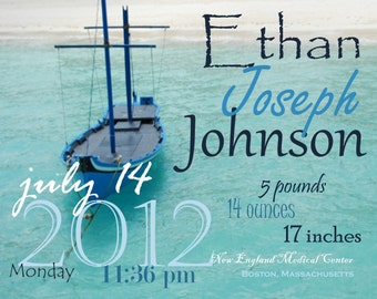 Boat baby boy birth announcement wall art/wall hanging