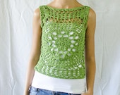 Green crochet summer top handmade unique