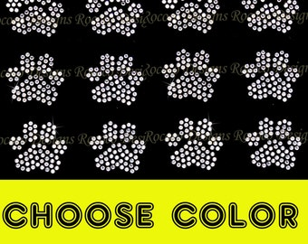 CHOOSE COLOR-  Set of 12 small paws rhinestone iron on transfer paws bling DIY- buy 2 and get 1  free