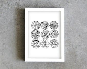 9 circles geometry drawing, black pen, art print, illustration, black and white, modern art drawing, contemporary painting