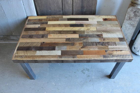 Reclaimed Pallet and Barn Wood Coffee Table with Steel Legs - Leonids