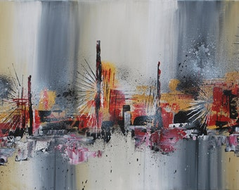 Original Abstract Painting Modern Acrylic Art on Canvas 40 x 24 x .5