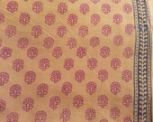 Indian Cotton Block Print Sari Border Fabric in Cream and Gold Color By Yard