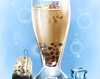 DISCONTINUING Boba milk tea - 8x10 fine art archival print - painting of bubble tea - beverage, kitchen, cafe, drink art