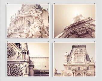 "Paris photography collection - Set of four 8x10"" Art prints,Louvre,Notre Dame,Eiffel tower,Versailles,White,Fine art photography,Paris decor"