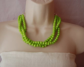 Lime Green Statement Necklace Neon Green Beaded Necklace Chunky Bold Bold Multi-Strand Bridesmaids Necklace Wedding Jewelry