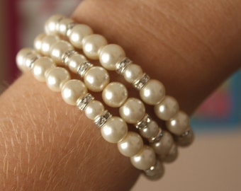 3 Strand Pearl Bracelet with Earrings, bridal, bridesmaids gift