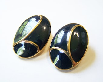 Vintage Gold Tone Black Enameled Oval Clip On Earrings / Gift for Her / M281