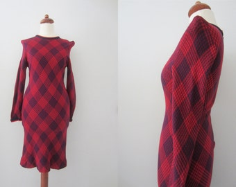 70s Tight Double Jersey Knit Mini Dress w/ Pointy Shoulders, XS-S // Vintage Stretchy Slanted Plaid Short Winter Dress