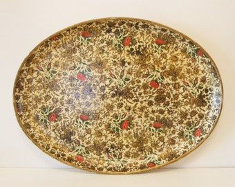 Oval Highmount Paper Mache Serving Tray - Ivory Gold & Pink