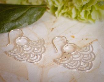 Large Silver Statement Earrings - Peacock Earrings - Fan Earrings - Big Light Earrings, Mothers Day Gift Ideas, Christmas Gift Jewelry