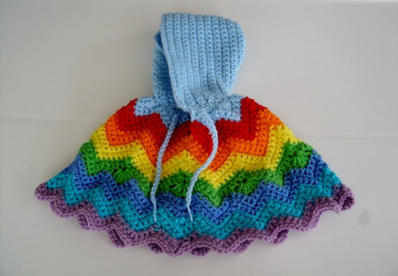 Baby Poncho with Hood Rainbow Infant Baby Newborn Kids Girls Crochet Clothing