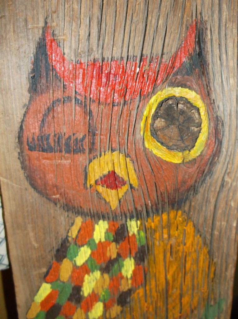 Vintage owl wall decor : Owl wall hanging vintage home decor by chixcoopantiques on