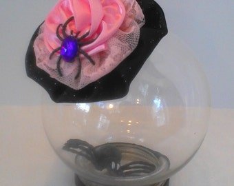 Satin, lace and spider hair fascinator.