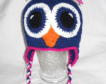 Owl Earflap Beanie-Navy blue and pink