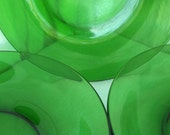 Vereco 4 green glass dinner plates, vintage french home decor
