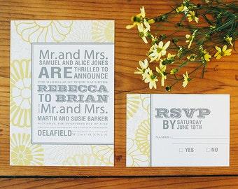 Printable Wedding Invitation Set - Modern Flower