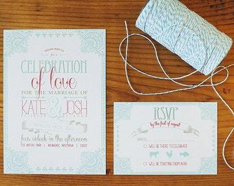Printable Wedding Invitation Set - Vintage Beauty