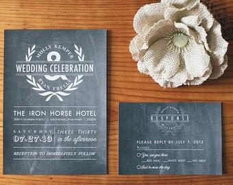 Printable Wedding Invitation Set - Natural Chalkboard