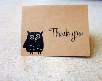 Owl Thank You Cards Set of 5, Kraft Thank You Cards, Kraft Paper Thank You Card, Simple Thank You Card, Blank Thank You Card