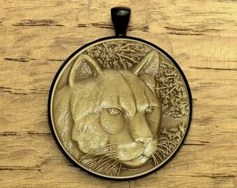 Cougar Mountain Lion Wildlife Medallion In Black Pendant Setting  - Gift Boxed