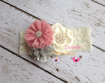 New gray ivory rose trio - Vintage style headband-  wedding headband - adult headband- teen headband- toddler headband- infant headband