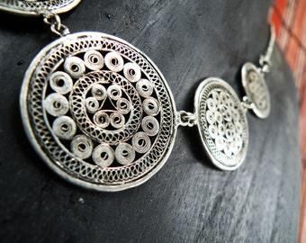 Coiled Wire Coin necklace vintage Miao Hmong jewelry