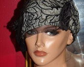 Flapper Hat Cloche 1920 style Personalized Black Tan Polyester Tulle Headdress   Millinery ArtWork