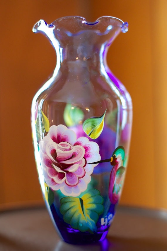Hand Painted Glass Vase With Roses And Hummingbirds Acrylic