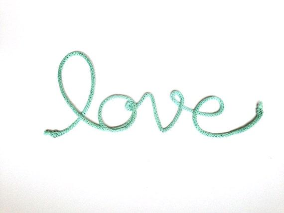 Aqua love crochet cursive medium wire wall word