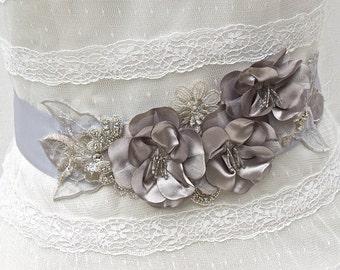 Bridal Sash-Wedding Sash In Platinum Grey And Silver, Beaded, Crystals, Beaded Sash, Wedding Dress Sash, Bridal Belt, Fower Sash