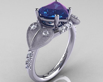 Classic Hearts 14K White Gold 2.0 Ct Chrysoberyl Alexandrite Diamond Engagement Ring Y445S-14KWGDAL
