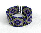 Colorful beaded cuff - beaded bracelet, beadwork jewelry