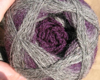 Purple Gray Black Kauni ET 2 ply wool gradient sport weight yarn. Knit Crochet and Felt. Imported from Denmark. Ships from USA