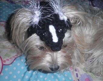Crocheted Skunk Hat for Cat or Dog for Halloween Costume Little Stinker