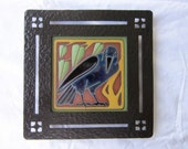 arts & crafts crow or raven tile plaque in wrought iron bronze finish - mission window frame