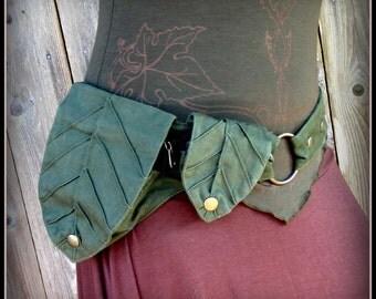 Utility Belt ~ Leaf Pocket Belt, Hip Belt, Legend of Zelda Green Festival Belt Bag Garb ~ canvas fabric ~ fits Small to Extra Large ~ vegan
