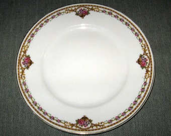 "Bernardaud Limoges CHAMBERRY 7.5"" Plate, Baskets of Roses on Trellis, Gold Trim"
