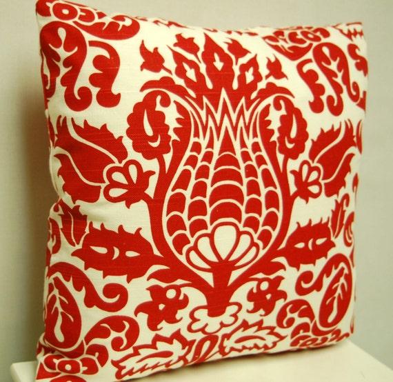 18 Inch Red White Print Throw Pillow Cover, Amsterdam Slub Lipstick/White Decorative Pillow Cover, Invisible Zipper Closure
